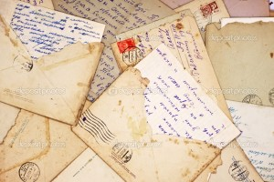 Old letters and envelope as a background