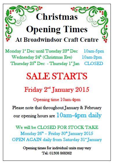 Broadwindsor Craft Centre Opening Times