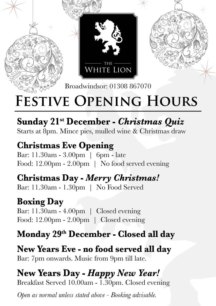 XMAS A4 OPENING TIMES